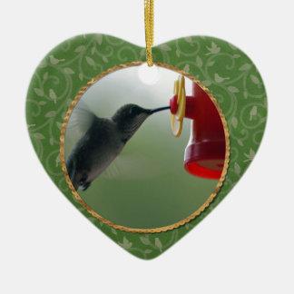 Ornement Cœur En Céramique Colibri au conducteur dans le rond, oiseaux sur