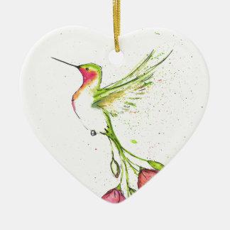Ornement Cœur En Céramique colibri de queue de fleur