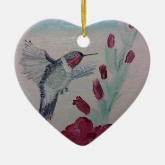 Ornement Cœur En Céramique Colibri douceurs de peinture à l'huile '