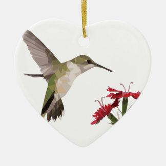 Ornement Cœur En Céramique Colibri et fleur