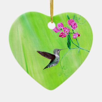 Ornement Cœur En Céramique Colibri et pois doux