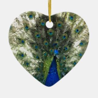 Ornement Cœur En Céramique Collectection mosaîque - Parade amoureuse du Paon