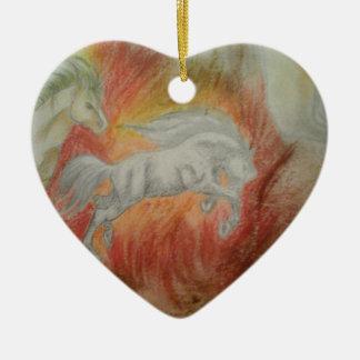 Ornement Cœur En Céramique Collection ''Horses and Fire''