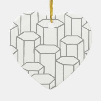 Ornement Cœur En Céramique Colonnes hexagonales