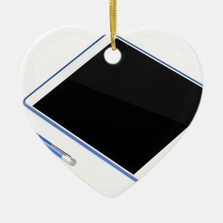 Ornement Cœur En Céramique Comprimé sur le support et le stylo numérique