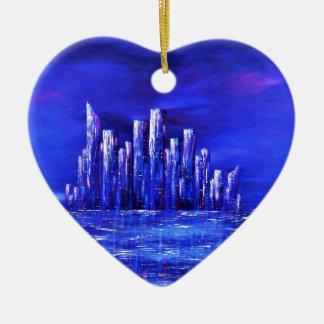 Ornement Cœur En Céramique Conception bleue urbaine de Jane Howarth