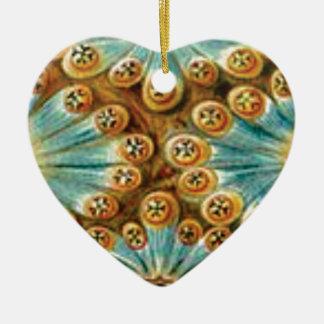 Ornement Cœur En Céramique conception bronzage de bleu des formes