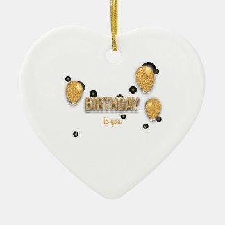 Ornement Cœur En Céramique conception d'anniversaire de ballon