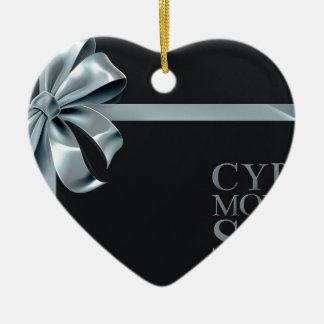 Ornement Cœur En Céramique Conception d'arc de ruban d'argent de vente de