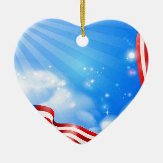Ornement Cœur En Céramique Conception d'arrière - plan de ciel de drapeau