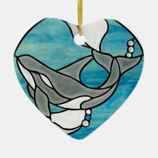 Ornement Cœur En Céramique Conception d'art en verre souillé de baleine