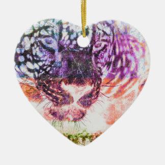 Ornement Cœur En Céramique Conception de chat de Jaguar d'arc-en-ciel