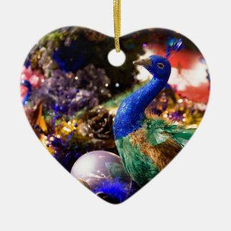 Ornement Cœur En Céramique Conception de Noël de paon