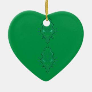 Ornement Cœur En Céramique Conception de vert d'émeraudes