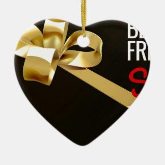 Ornement Cœur En Céramique Conception noire d'arc de cadeau de ruban d'or de