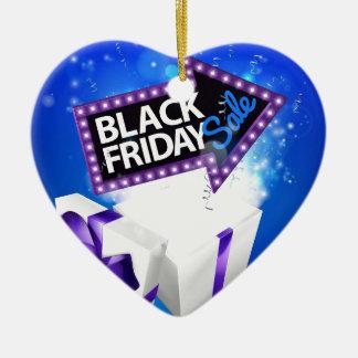 Ornement Cœur En Céramique Conception noire d'arc de cadeau de vente de