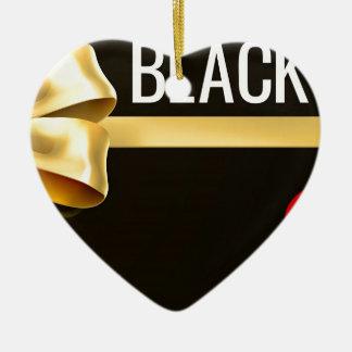 Ornement Cœur En Céramique Conception noire de ruban d'arc de cadeau d'or de