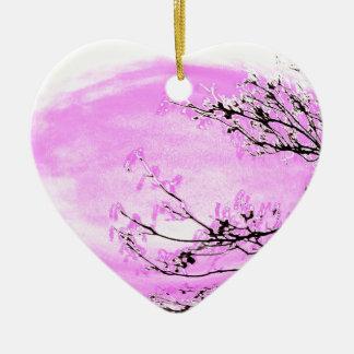 Ornement Cœur En Céramique Conception rose de forêt de Jane Howarth