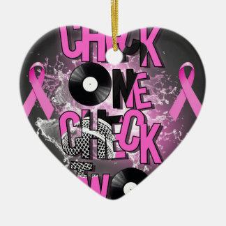 Ornement Cœur En Céramique Conscience de cancer du sein