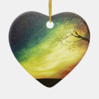 Ornement Cœur En Céramique Contre les étoiles