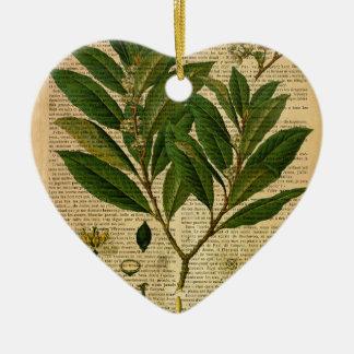 Ornement Cœur En Céramique Copie botanique à la page de vieux livre