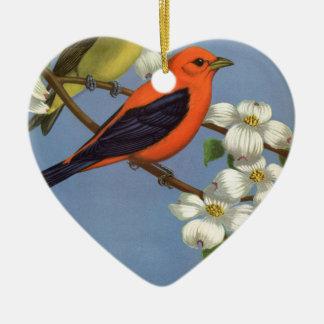Ornement Cœur En Céramique Copie vintage d'oiseau de Tanager