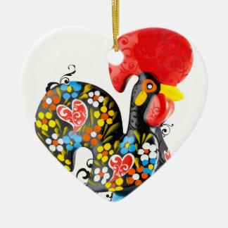 Ornement Cœur En Céramique Coq célèbre de Barcelos Nr 06 - édition florale