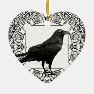 Ornement Cœur En Céramique Corbeau vintage de Halloween