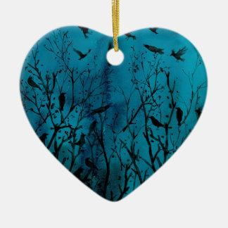 Ornement Cœur En Céramique Corneilles d'aquarelle en bois la nuit
