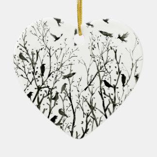Ornement Cœur En Céramique Corneilles d'encre d'aquarelle en bois