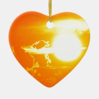Ornement Cœur En Céramique coucher du soleil 3