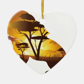 Ornement Cœur En Céramique Coucher du soleil africain avec le lion