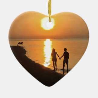 Ornement Cœur En Céramique Coucher du soleil dans Bali