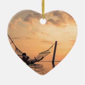 Ornement Cœur En Céramique Coucher du soleil de Bali