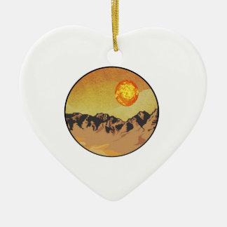 Ornement Cœur En Céramique Coucher du soleil de montagne