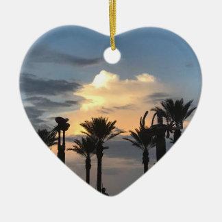 Ornement Cœur En Céramique Coucher du soleil de palmier
