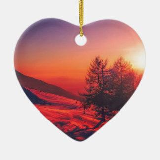 Ornement Cœur En Céramique Coucher du soleil de soirée de Milou