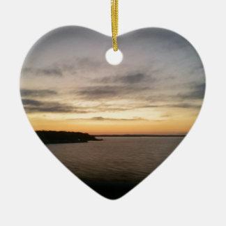 Ornement Cœur En Céramique Coucher du soleil de Texoma de lac