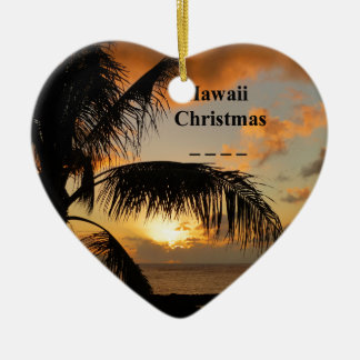 Ornement Cœur En Céramique Coucher du soleil d'Hawaï