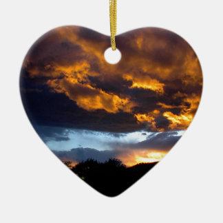 Ornement Cœur En Céramique Coucher du soleil du Montana
