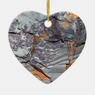Ornement Cœur En Céramique Couches naturelles d'agate dans un grès