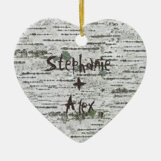 Ornement Cœur En Céramique Couples rustiques en bois de bouleau