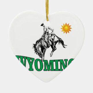 Ornement Cœur En Céramique Cowboy du Wyoming