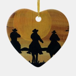 Ornement Cœur En Céramique cowboys et chevaux