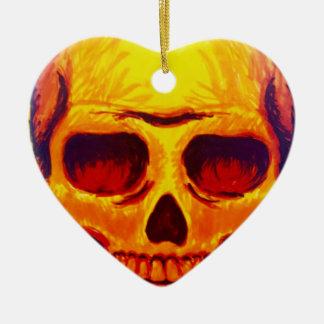 Ornement Cœur En Céramique Crâne de croquis