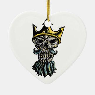 Ornement Cœur En Céramique Crâne de gravure sur bois en tête de couronne de