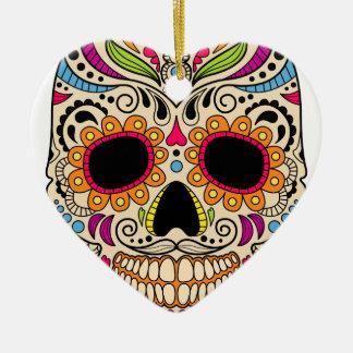 Ornement Cœur En Céramique Crâne mexicain de couleur
