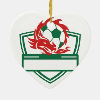 Ornement Cœur En Céramique Crête rouge de ballon de football de dragon