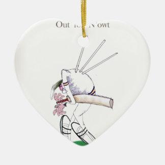 Ornement Cœur En Céramique Cricket de Yorkshire 'pour le n'owt