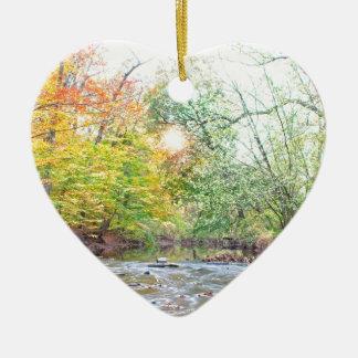 Ornement Cœur En Céramique Crique - automne